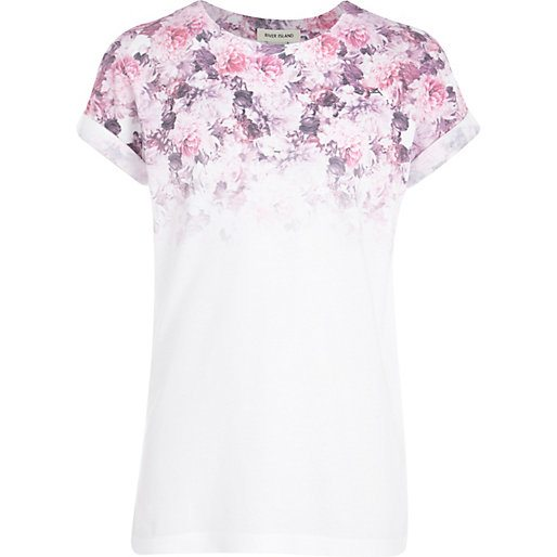 River Island Girls Flower Fade Out T-Shirt