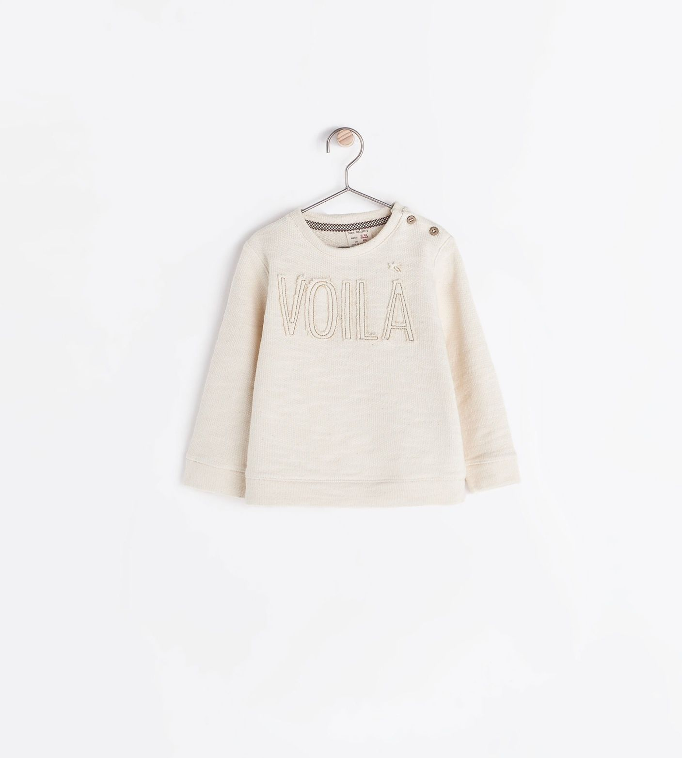 "Zara Embroidered ""voila"" sweatshirt"