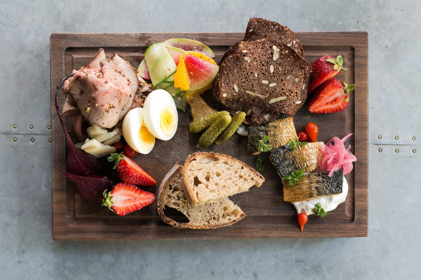 Farmer's Lunch:  Assorted house made charcuterie with traditional garnishes $17