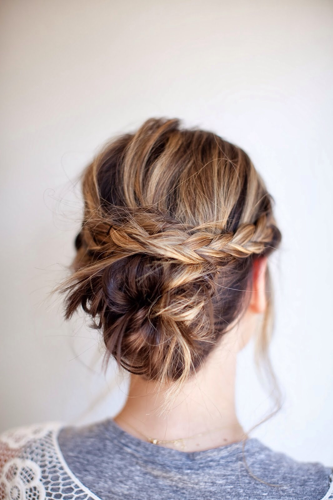 Messy Knotted Bun with Braided Band
