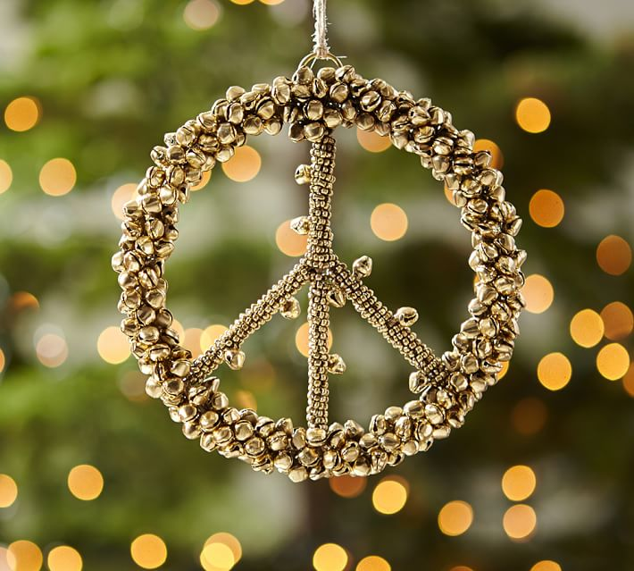 Pottery Barn Bell Peace Sign Ornament Sparkleshinylove