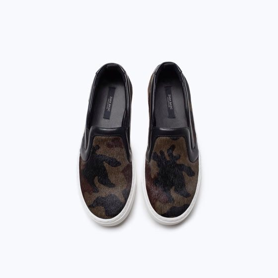 Zara Camouflage Leather Sneakers