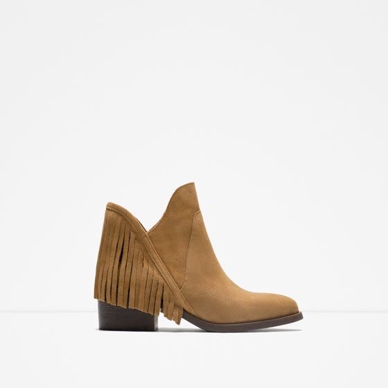 Zara Leather Flat Booties with Fringe