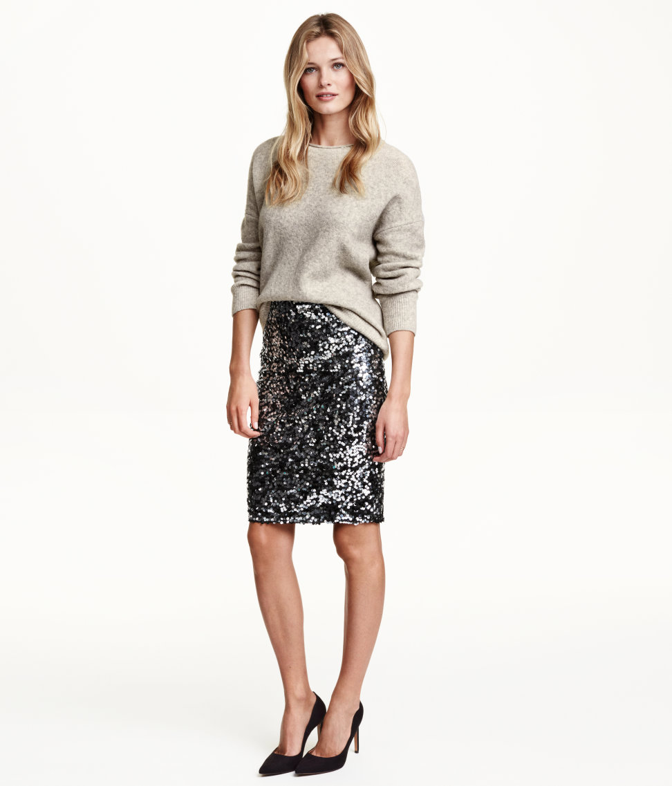 H&M Glitter Pencil Skirt