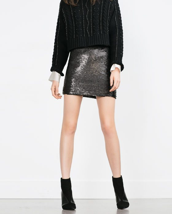 Zara Sequinned mini skirt