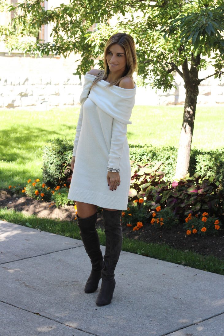 Nordstrom-Off-the-shoulder-white-sweater-dress-over-the-knee-grey-boots