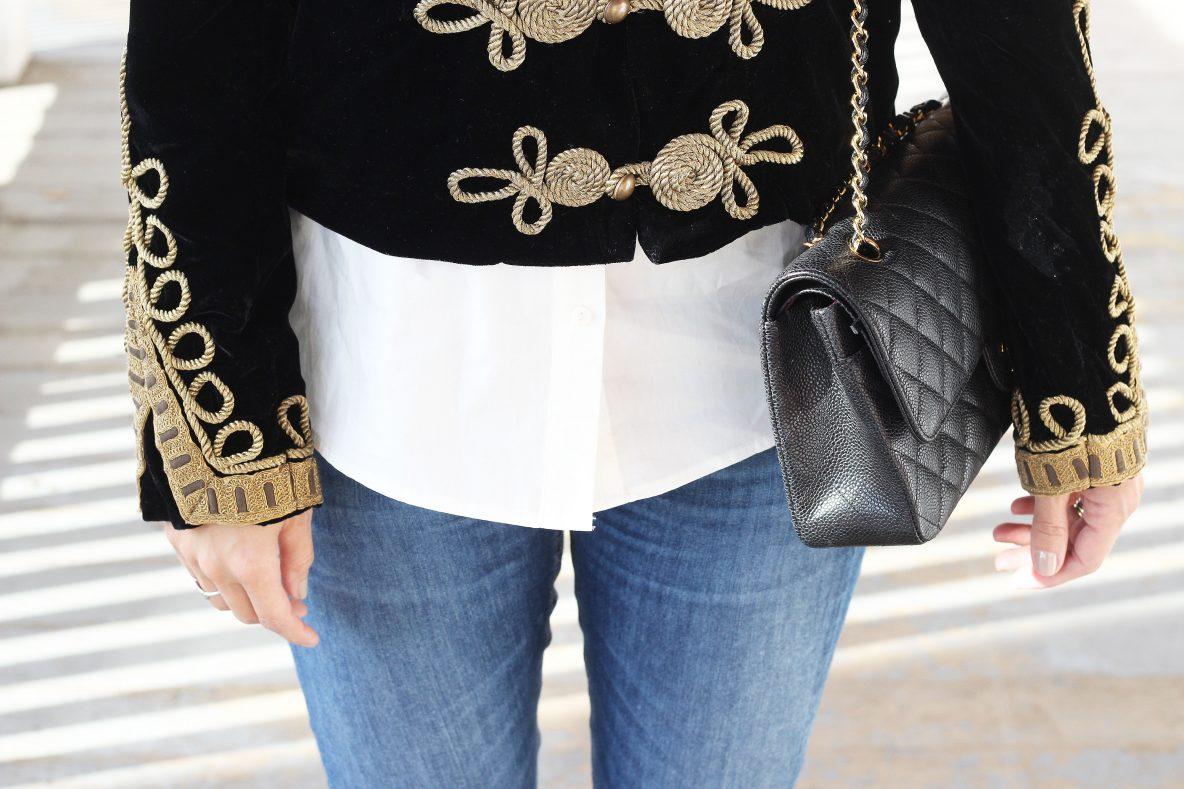 Zara Velvet Military Jacket