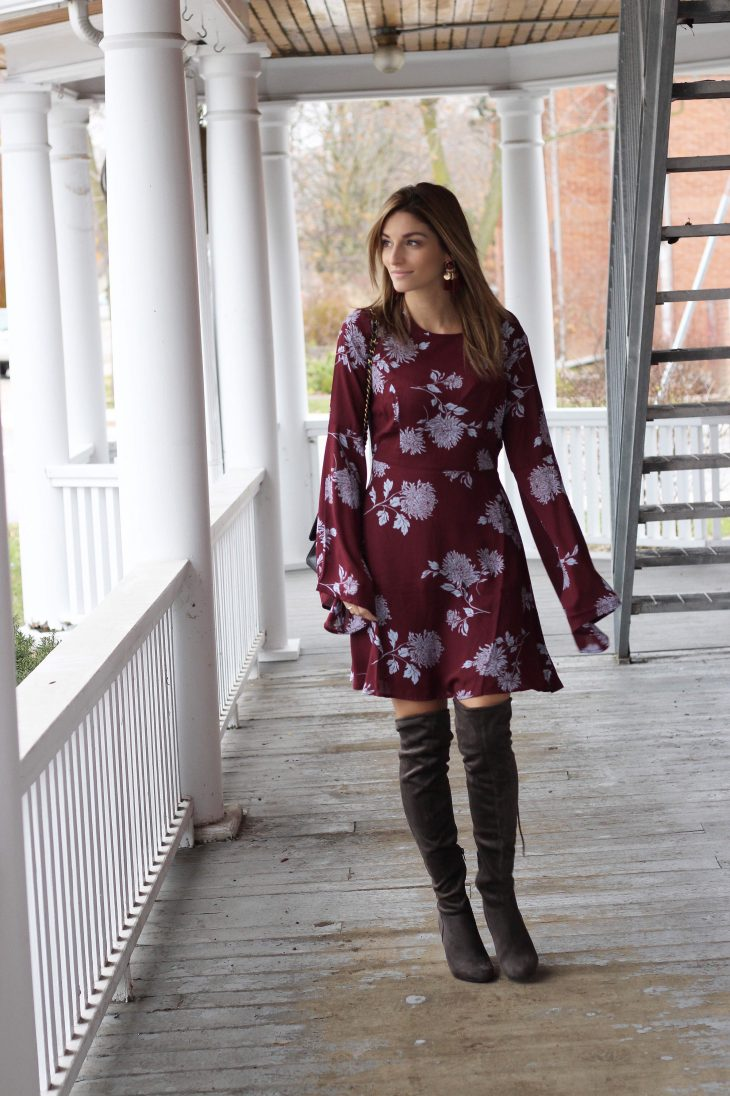 Burgundy floral dress for fall