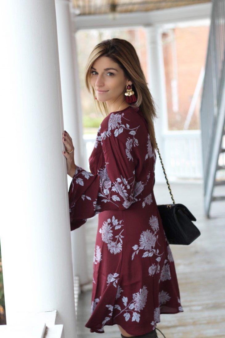 Burgundy Bell Sleeves dress from Forever 21