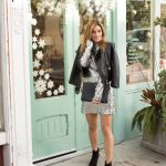 Guess platinum sequin dress with black leather jacket and chanel quilted clutch sparkleshinylove