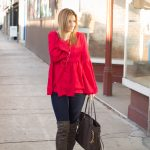 Red Bell Sleeve Top sparkleshinylove