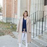 Navy Cashmere sweater from Uniqlo, white skinny jeans, long camel coat, leaopard clutch from Charming Charlie and Nude Christian Louboutin So Kate Pumps mandy furnis