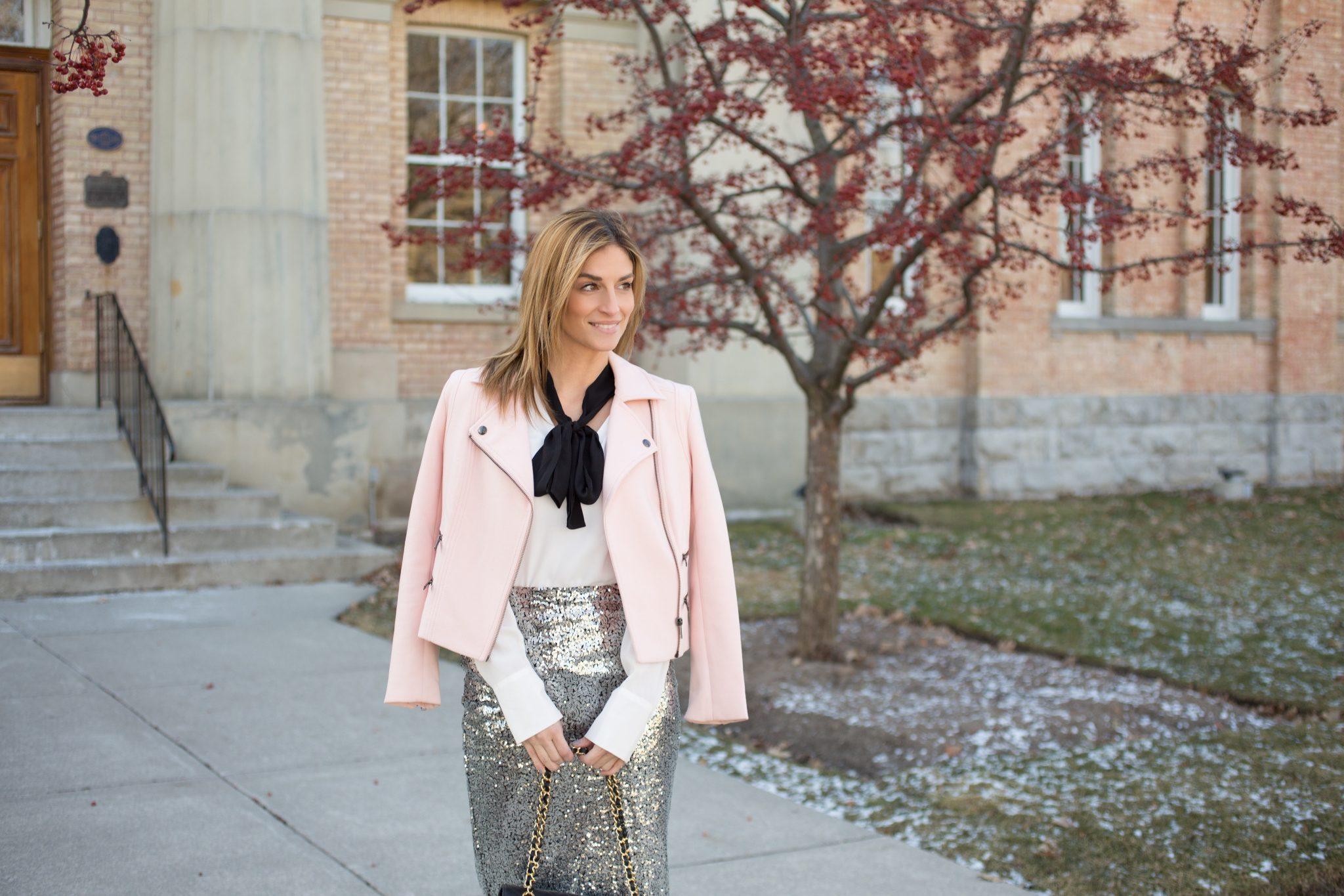 Pink Moto Jacket, pussy bow blouse, silver sequin skirt, black christian louboutins, medium Chanel flap bag sparkleshinylove Mandy Furnis