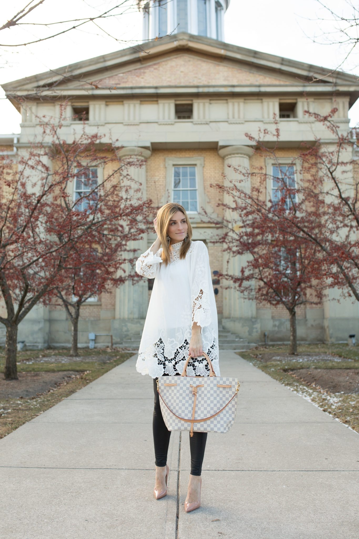 White Tunic with cut out detail, pleather leggings, nude Christian Louboutin heels, Louis Vuitton Girloata Bag sparkleshinylove Mandy Furnis