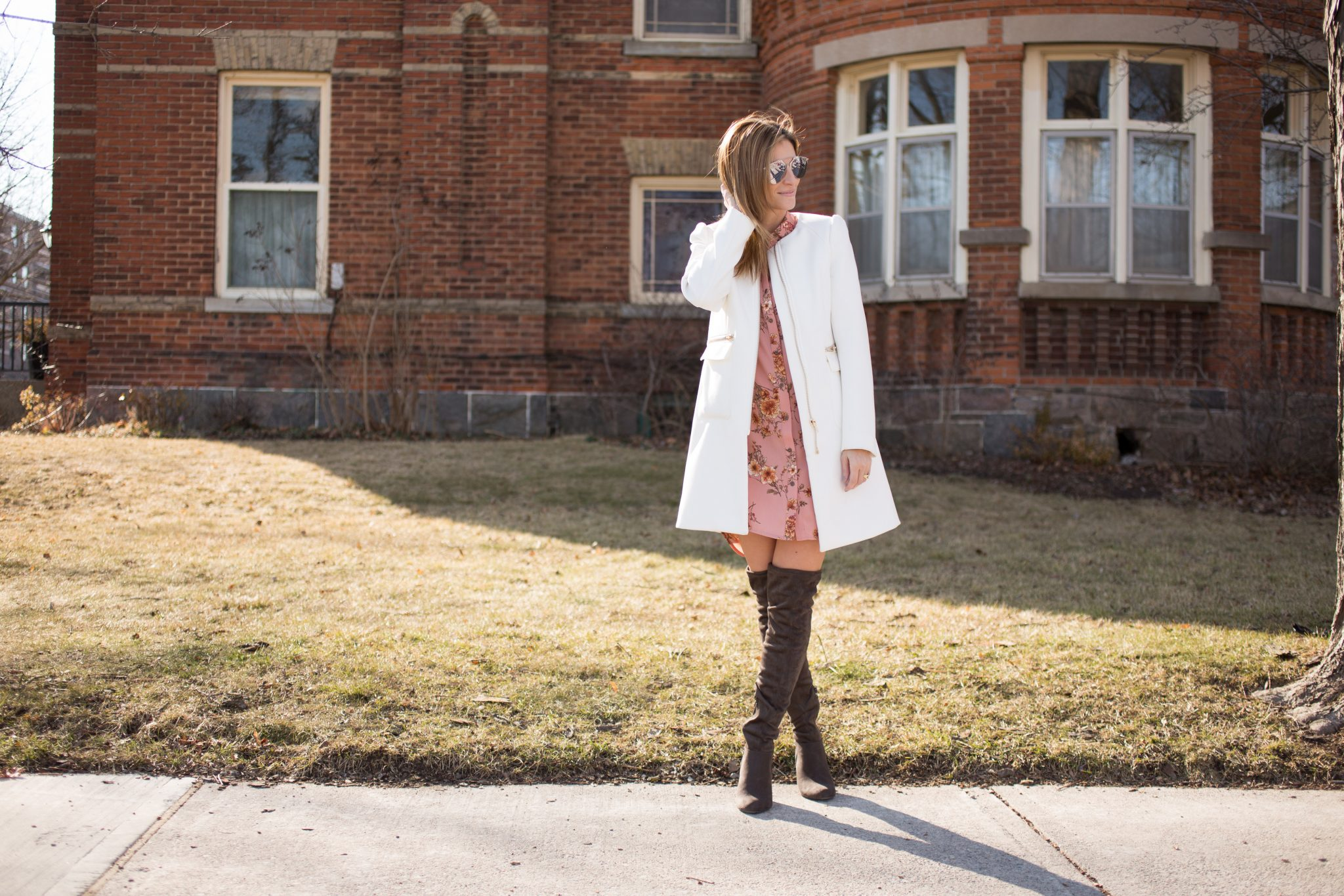 sparkleshinylove Floral Shirt Dress Forever 21, grey over the knee boots Call it Spring, White long coat H&M, Dior So-Real sunglasses