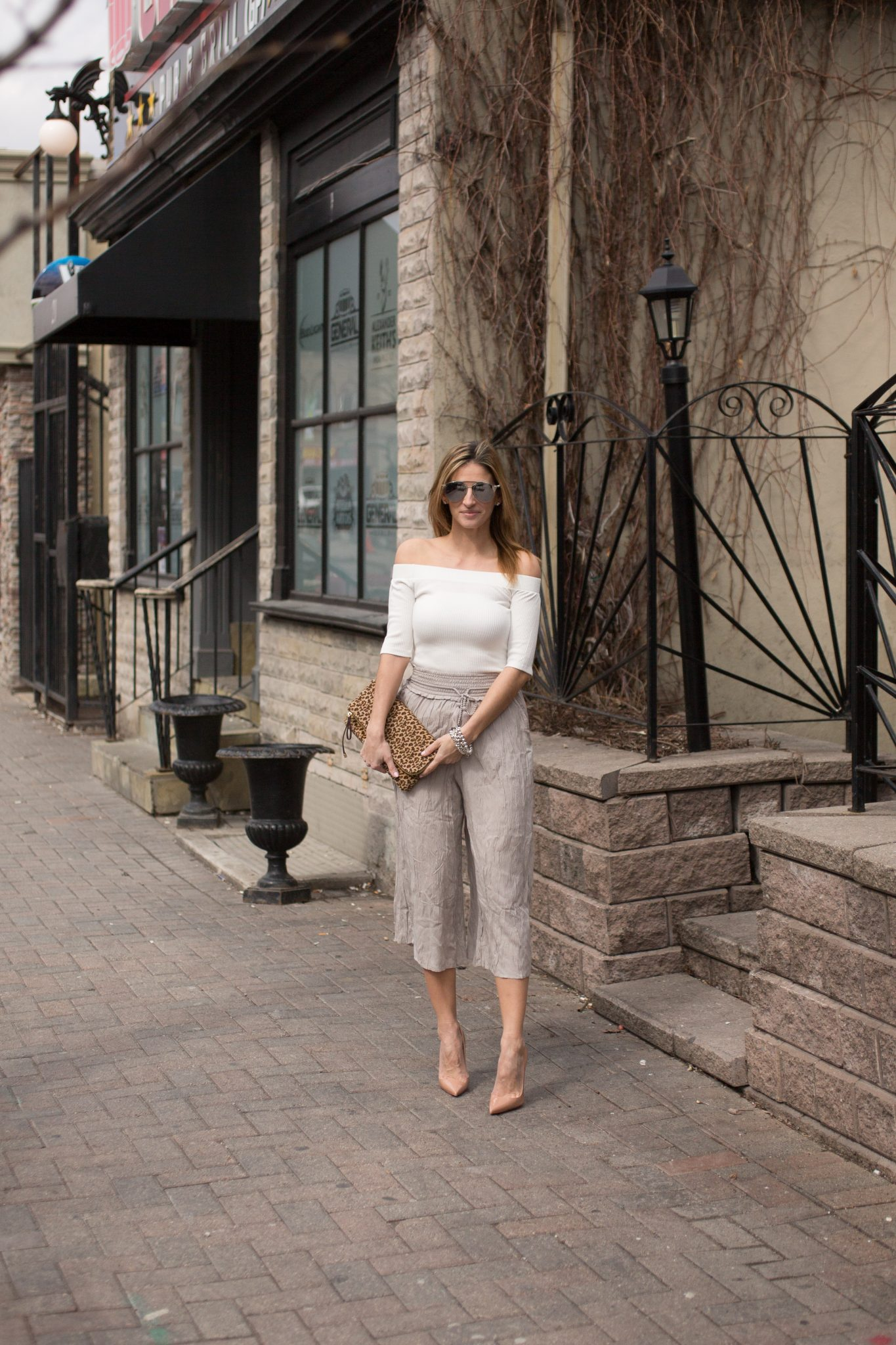 sparkleshinylove Lucky 7 Ribbed Off the Shoulder Top Jean Machine, Wilfred Nanterre pants from Aritzia, Nude Christian Louboutin pumps, Dior So Real Sunglasses, leaopard print clutch from Charming Charlie
