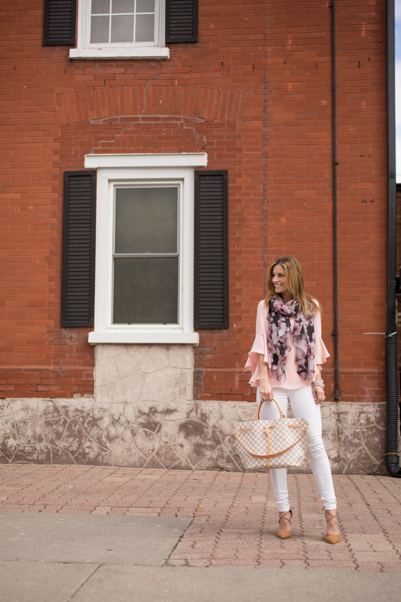 Sparkleshinylove Pink bell sleeve top Suzy Shier, multicolour scarf Suzy shier, White Jeans Suzy Shier, Louis Vuitton Girolata Bag, lace up pointed toe heels in nude Le Chateau