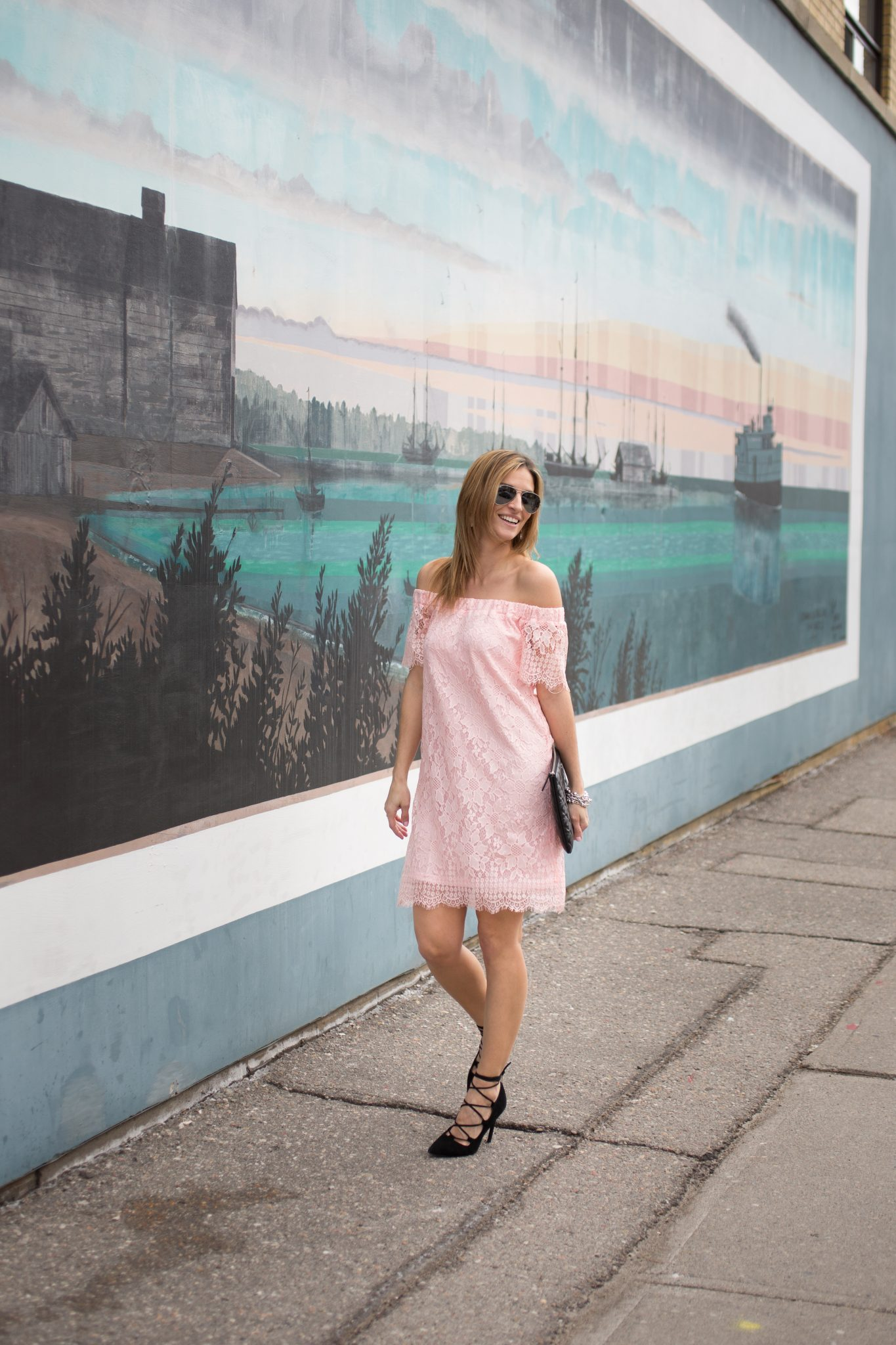 sparkleshinylove Pink lace off the shoulder dress from Suzy Shier, Chanel black quilted clutch, black suede lace up pumps, Ray-Ban Aviators