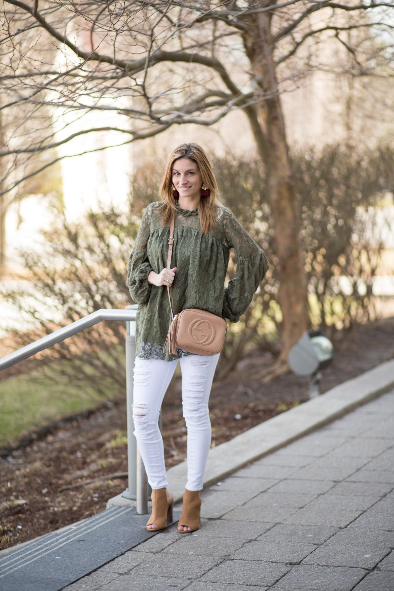 Chicwish Leaf Power Lace Dolly Top in Olive, white jeans from jean machine, nude peep toe booties from Le Chateau, Gucci nude soho disco bag, tassel earrings from H&M