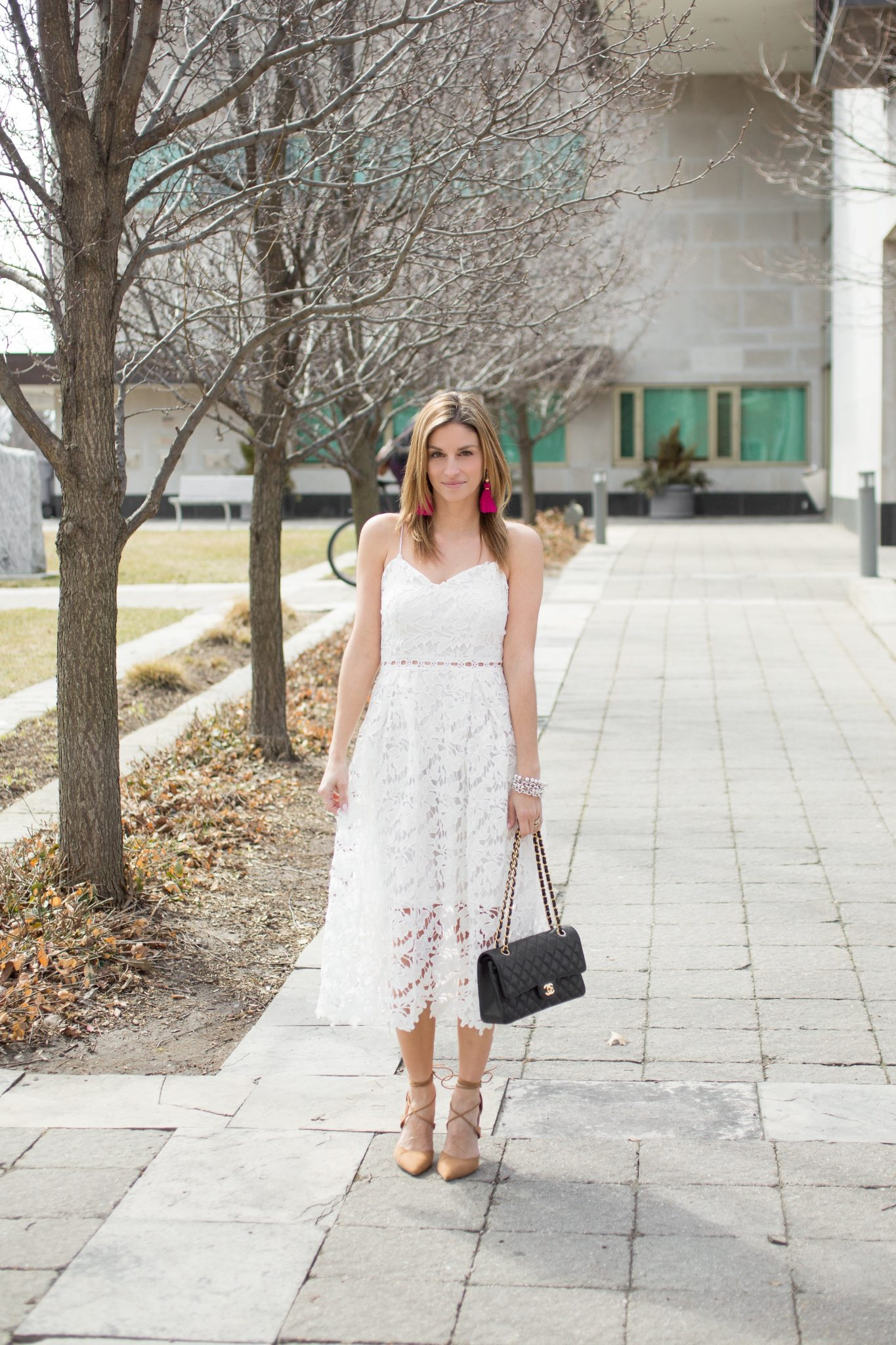 sparkleshinylove Chicwish ingenious crochet cami dress in white, lace up pointed toe heels in nude from Le Chateau, hot pink tassel earrings from H&M, Chanel medium flap bag