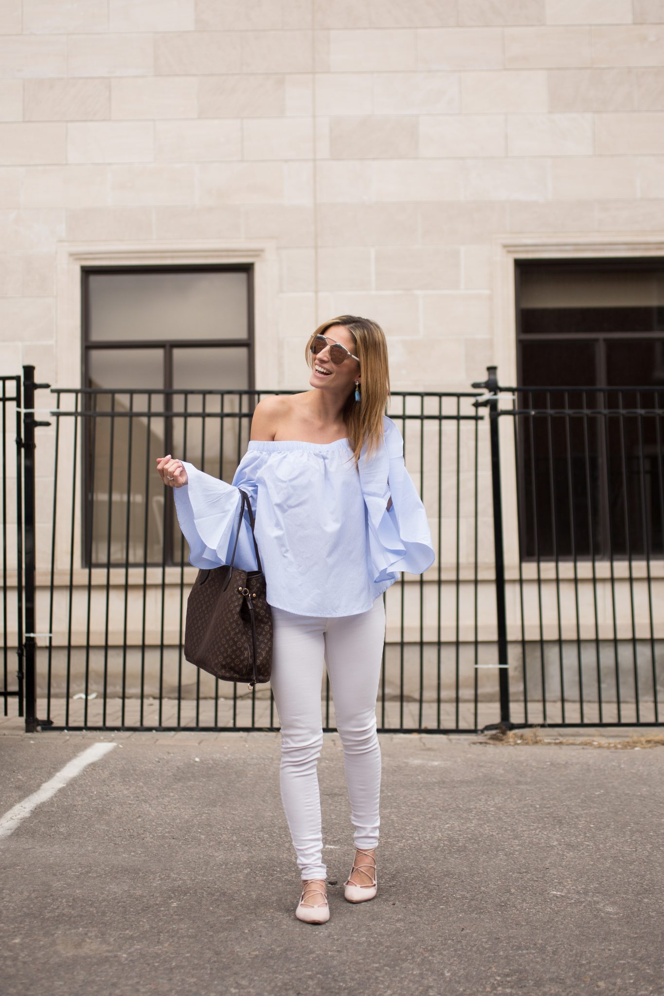 sparkleshinylove off the should pinstripe bell sleeve top Forever 21, White jeans by 7 for All Mankind Saks Off 5th, Louis Vuitton Neverfull, Dior So Real Sunglasses, pink pointed toe lace up shoes Walmart