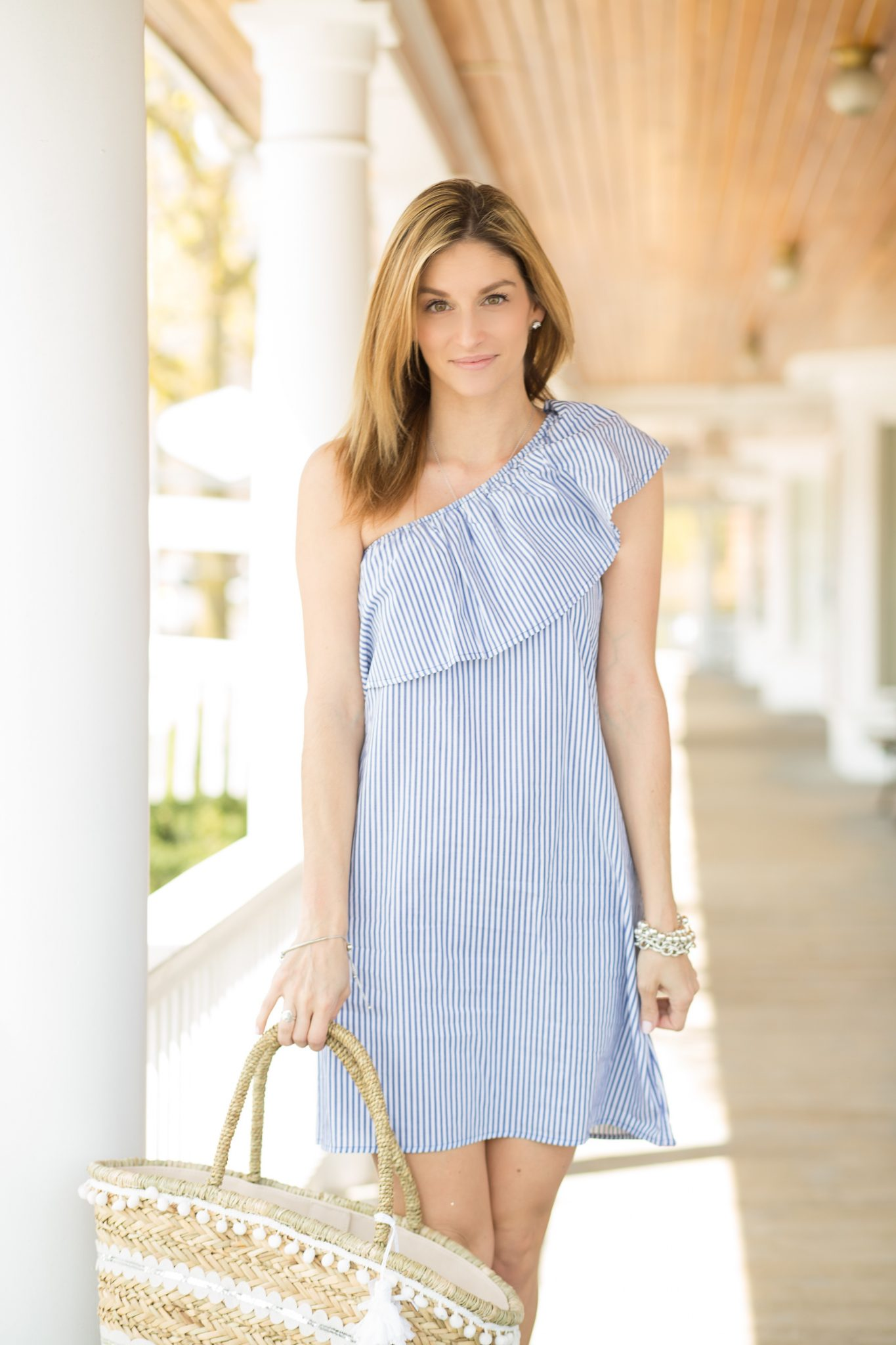 01699f6bf62f sparkleshinylove love off the shoulder blue and white pinstripe dress Saks  OFF 5TH