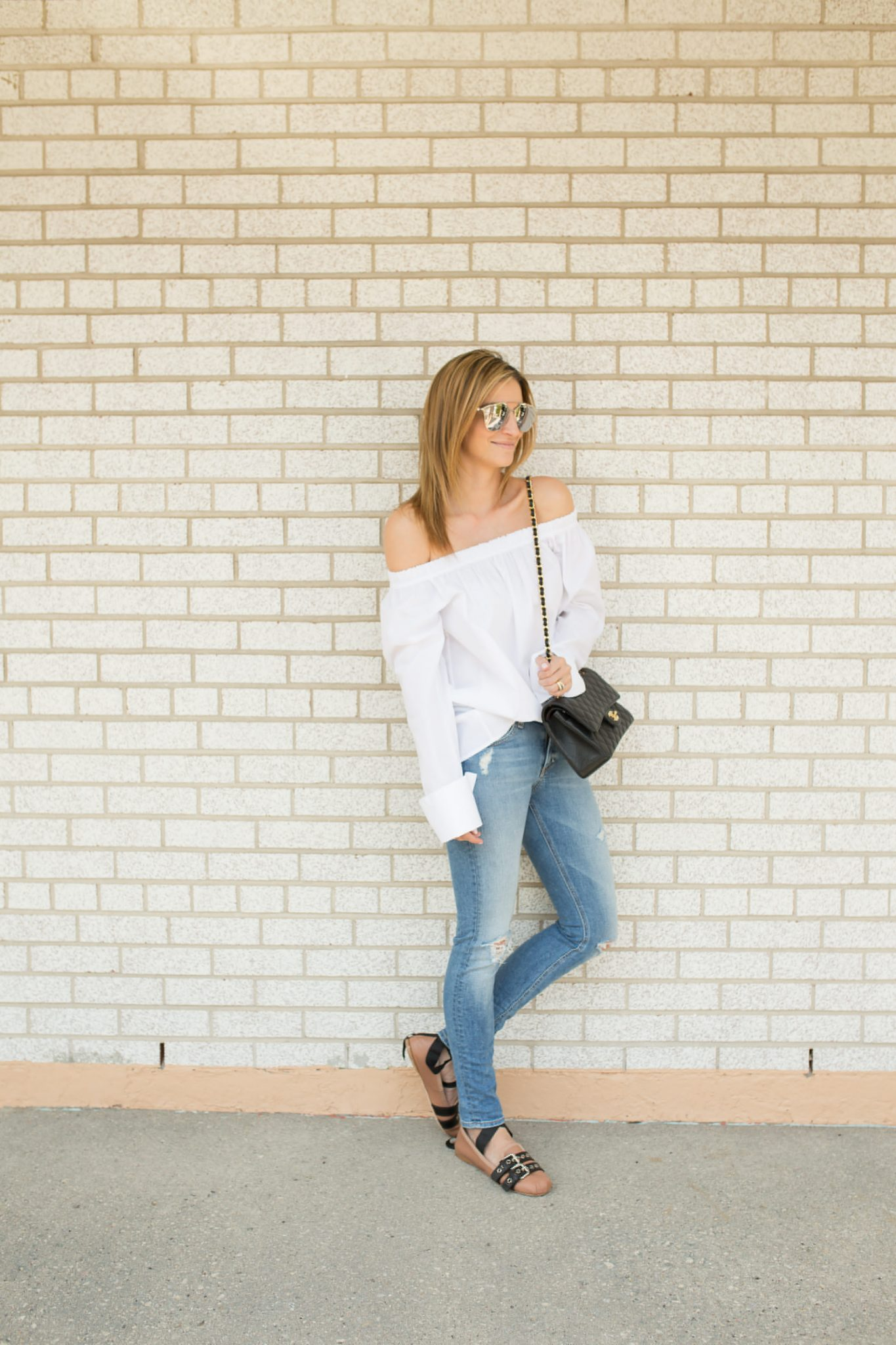 Sparkleshinylove #HumansofYV Yorkville Village off the shoulder white top, Rag & Bone Distressed Jeans from TNT, Miu Miu double buckle nude loafers