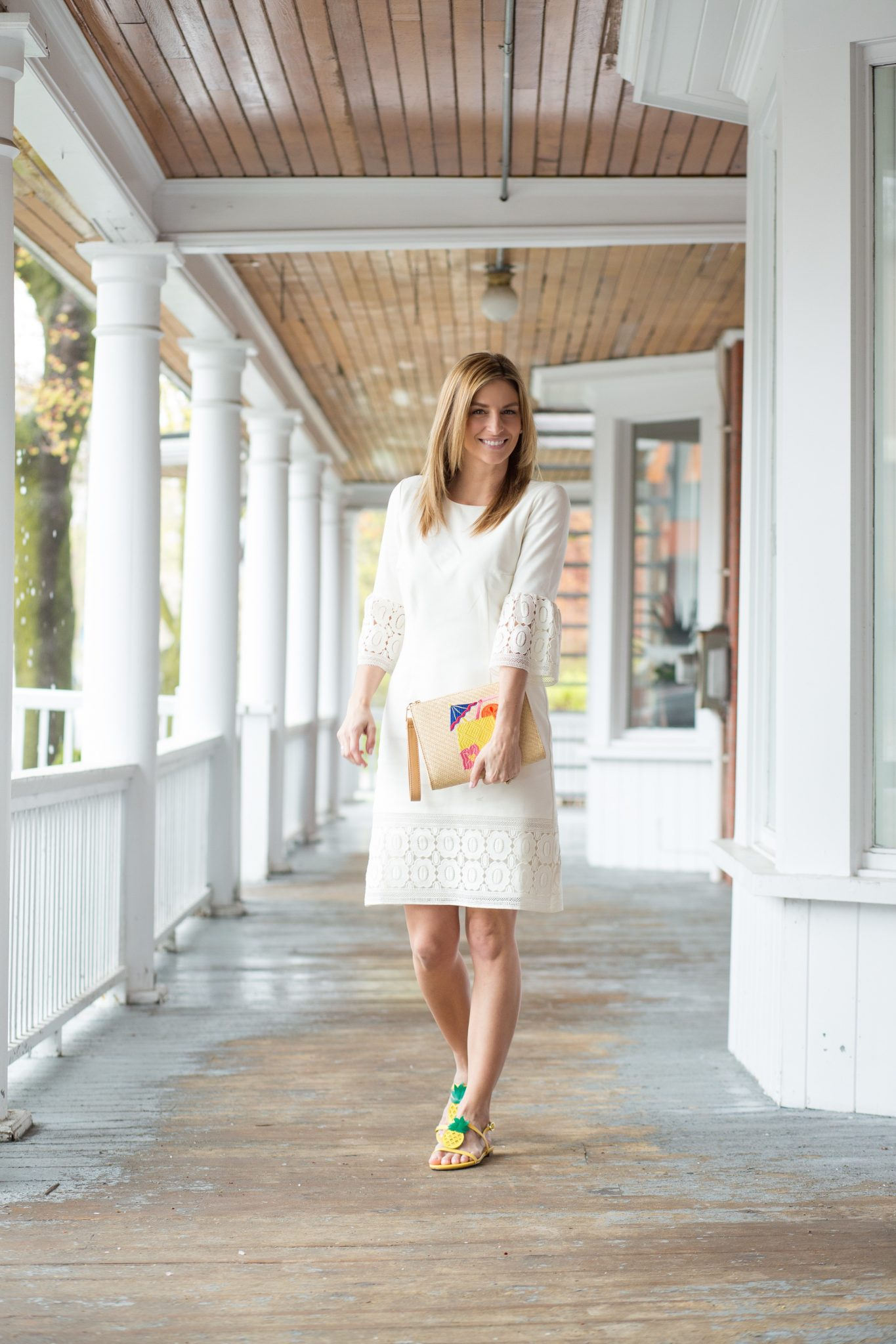 sparkleshinylove Flounce Sleeve Ponte and Lace Sheath Dress, Mai Tai Pouch and Pineapple Sandals all from Talbots