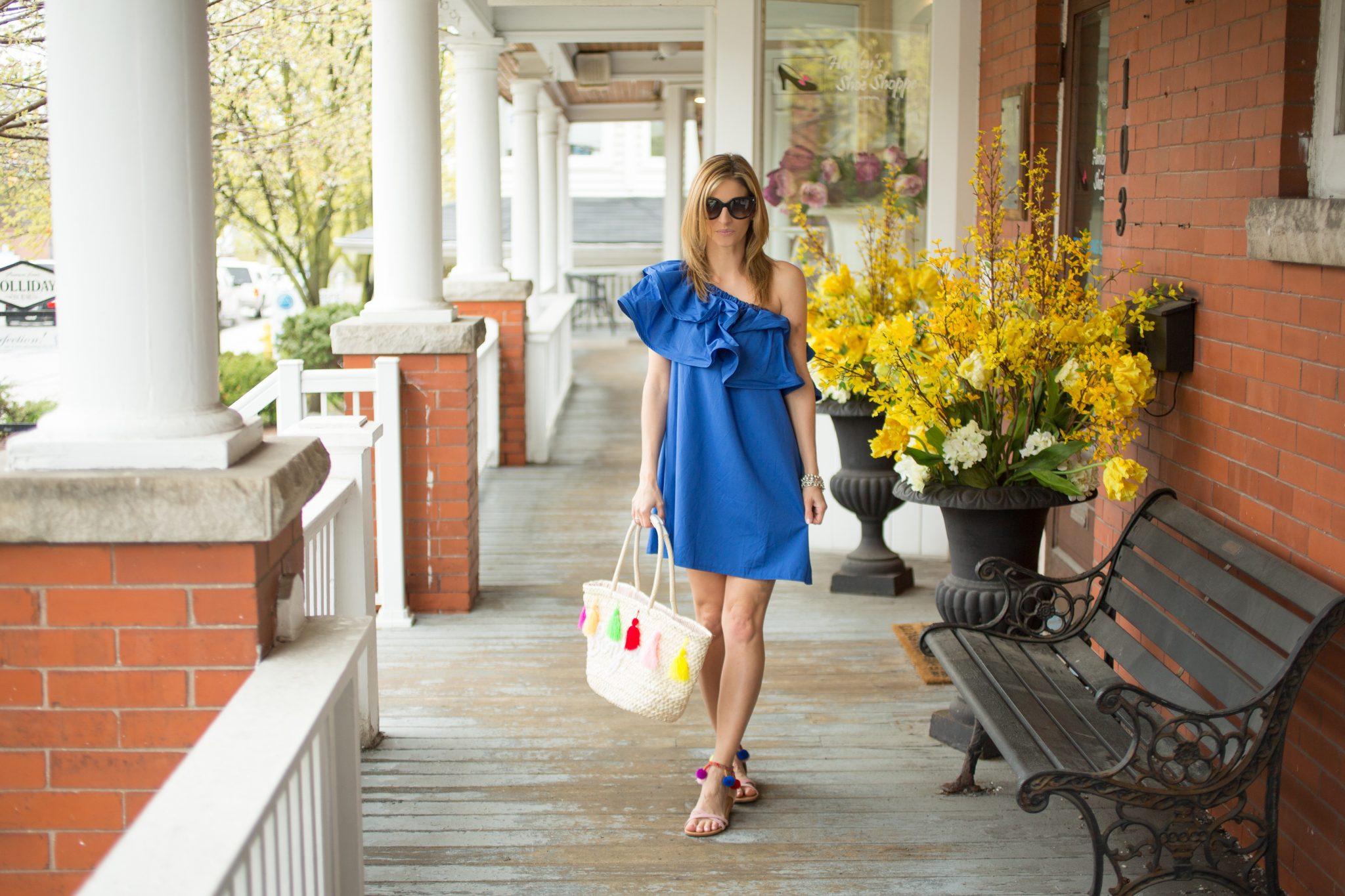 "sparkleshinylove blue off the shoulder ruffle dress, prada sunglasses, tassel straw bag ""bonjour"" from rosegal, pom pom sandals from Charlotte Russe"