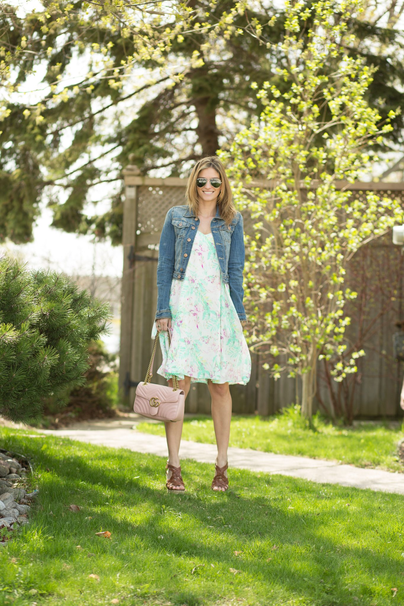 sparkleshinylove Mandy Furnis Floral dress from Pink Blush, Jean jacket from H&M, Pink Gucci bag, silver Ray-Ban sunglasses and wedges from Charlotte Russe