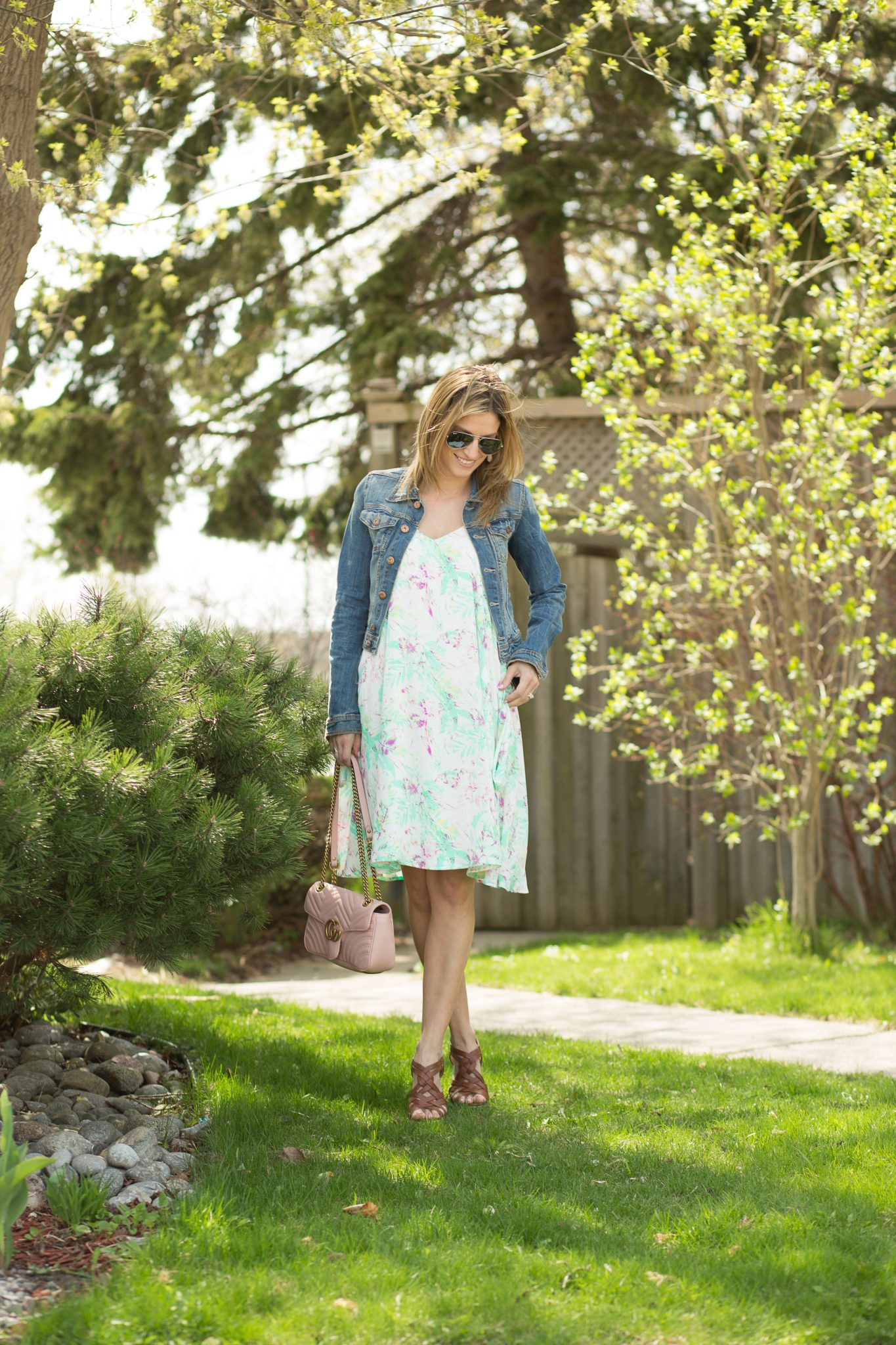 Jean jacket with sprind floral dress from pink blush