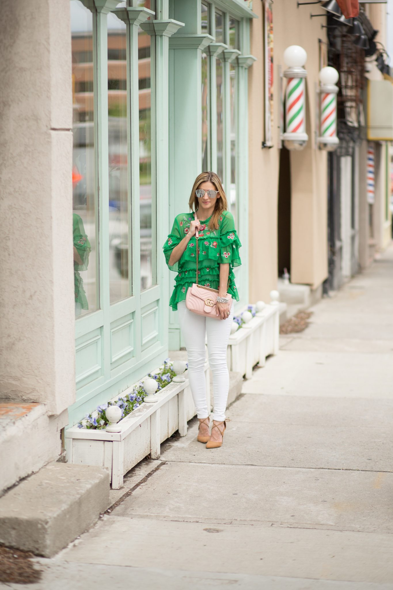 Green ruffled embroidered top Zara, white jeans, pink gucci marmont bag, nude lace up pumps, dior so real sunglasses