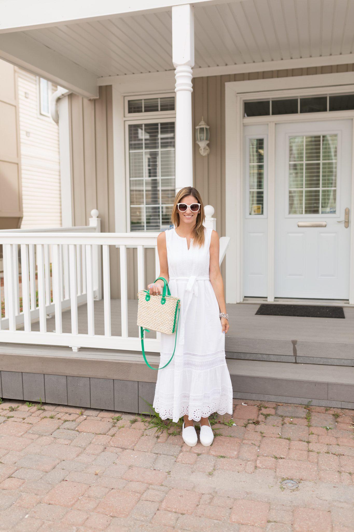 TalbotsEmbroidered-Eyelet & Lace Maxi Dress, wicker cross body bag, white chanel espadrilles, white cat-eye sunglasses sparkleshinylove