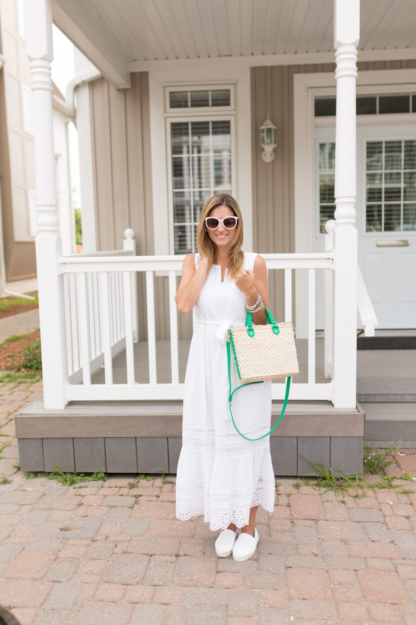 TalbotsEmbroidered-Eyelet & Lace Maxi Dress, wicker cross body bag, white chanel espadrilles, white cat-eye sunglasses sparkleshinylove