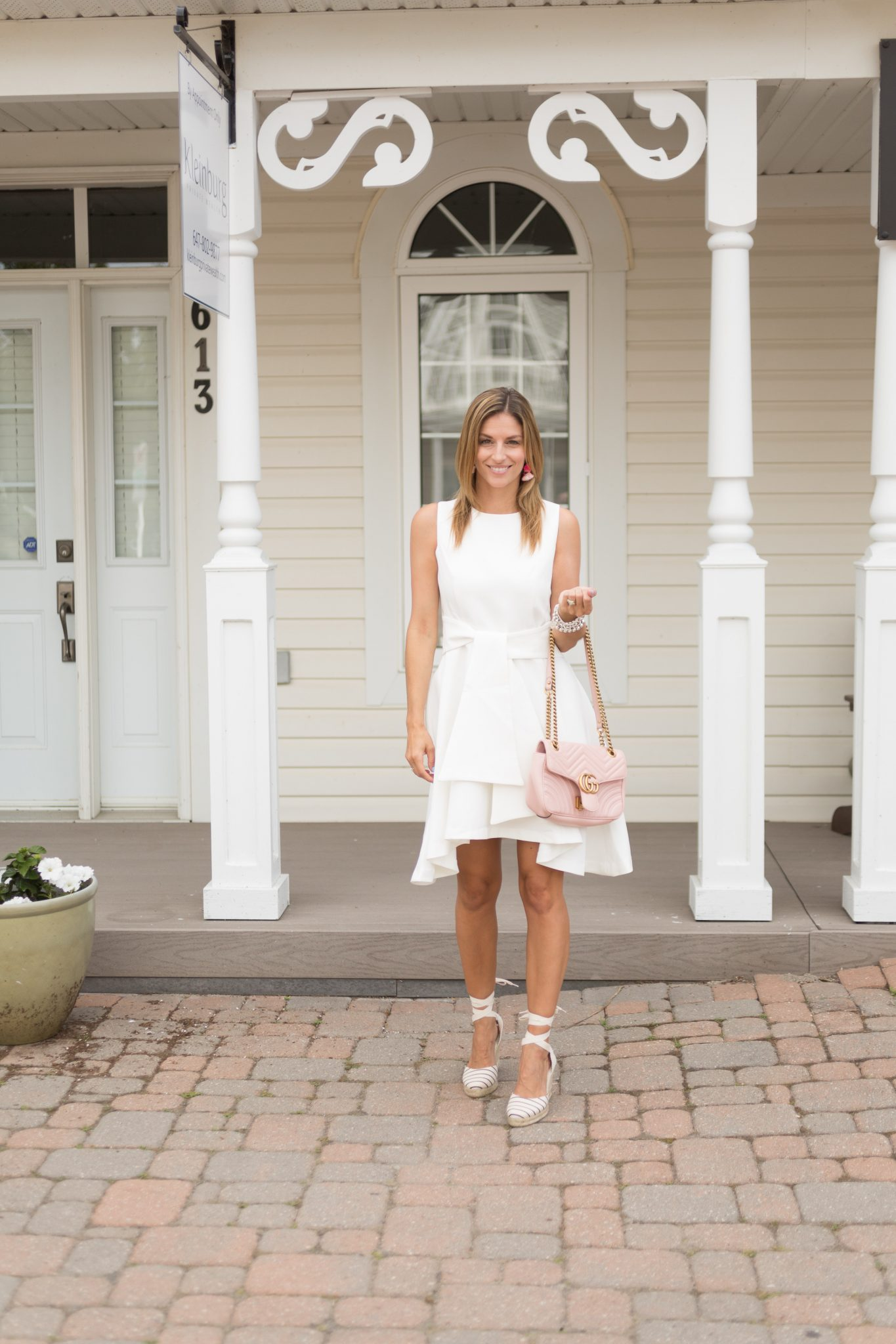 Chicwish tie with daintinless sleeveless dress in white