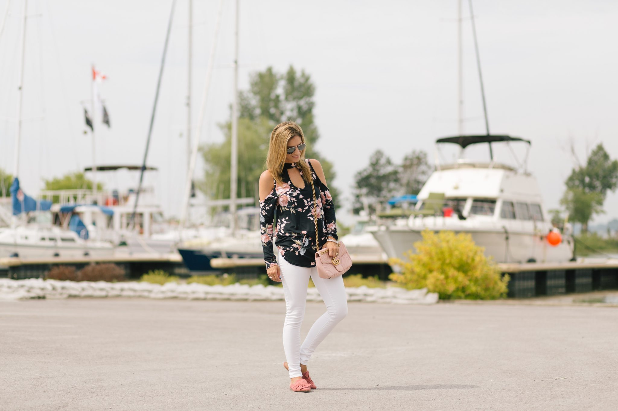 Floral Pink Blush cold shoulder top, White jeans, bow flats, pink gucci marmot bag sparkleshinylove