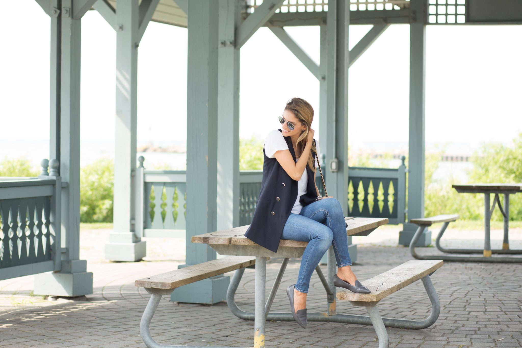 fall transition look with navy military blazer