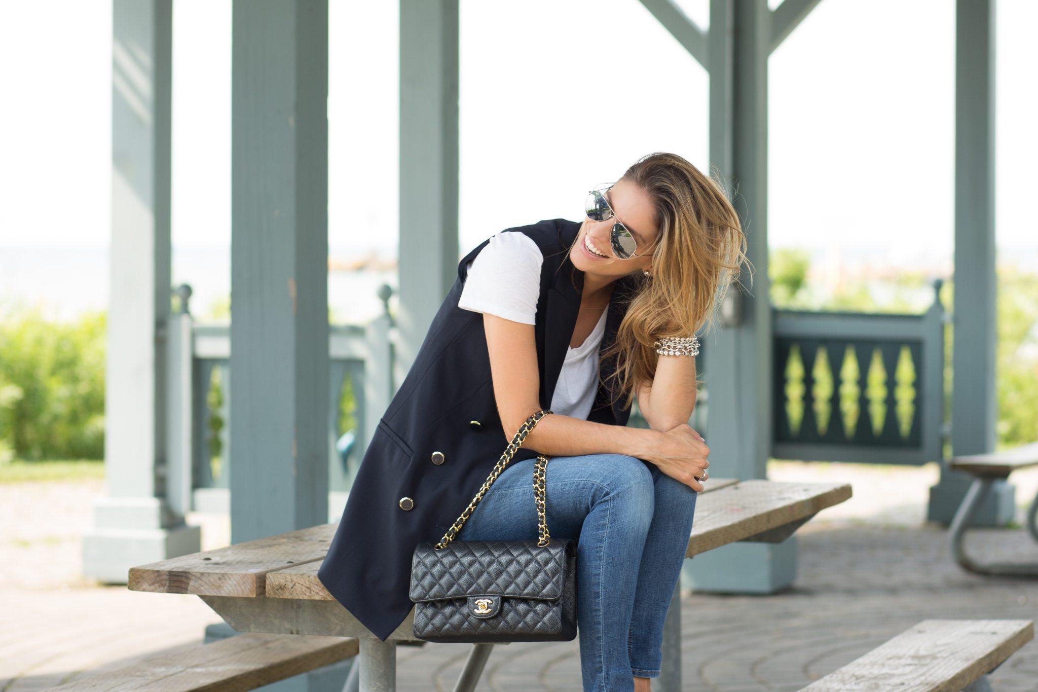 Military blazer vest from Zara, white t-shirt from Target, J.Brand skinny jeans, Chanel medium flap bag, grey loafers