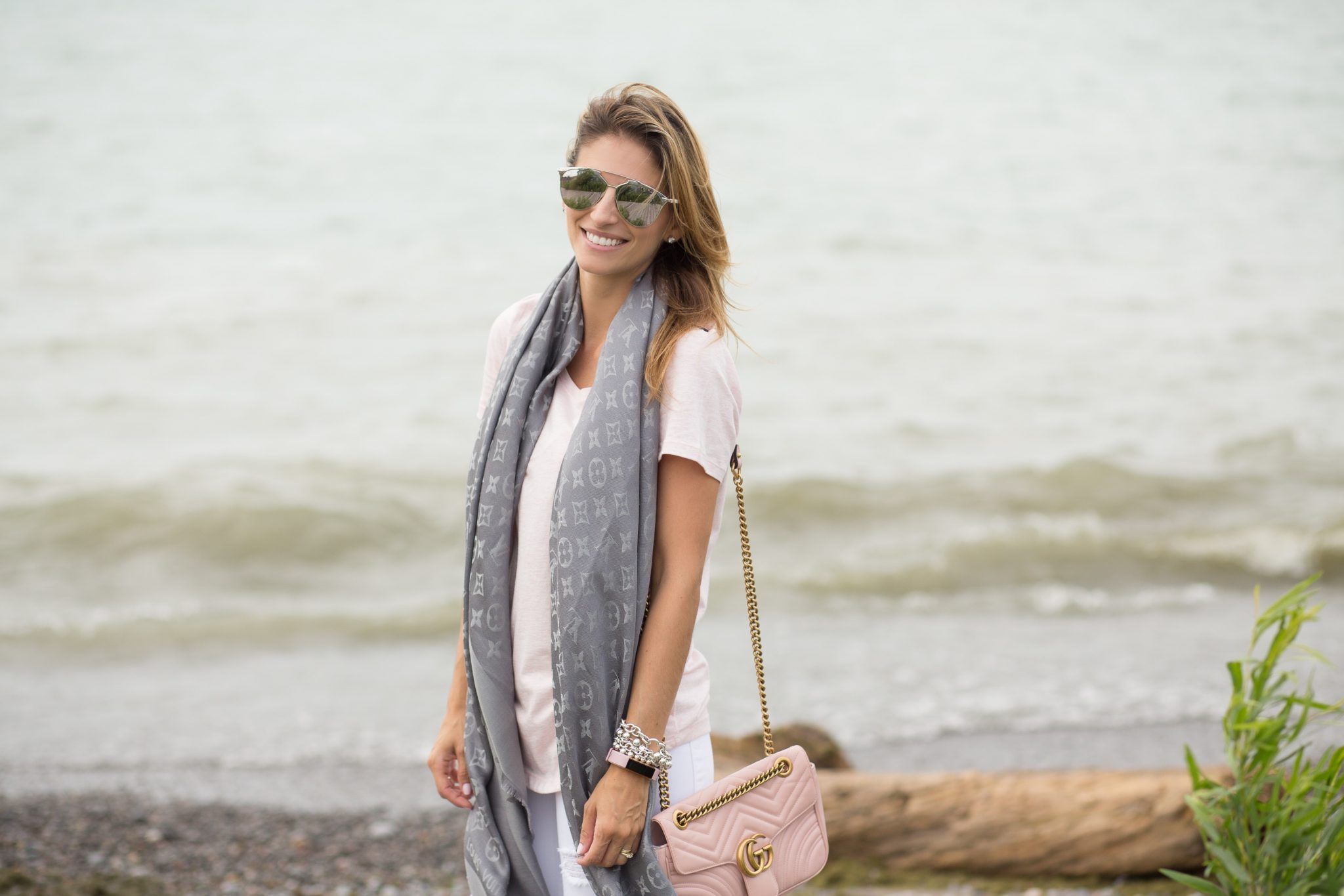 Grey Louis Vuitton Monogram Shine Shawl