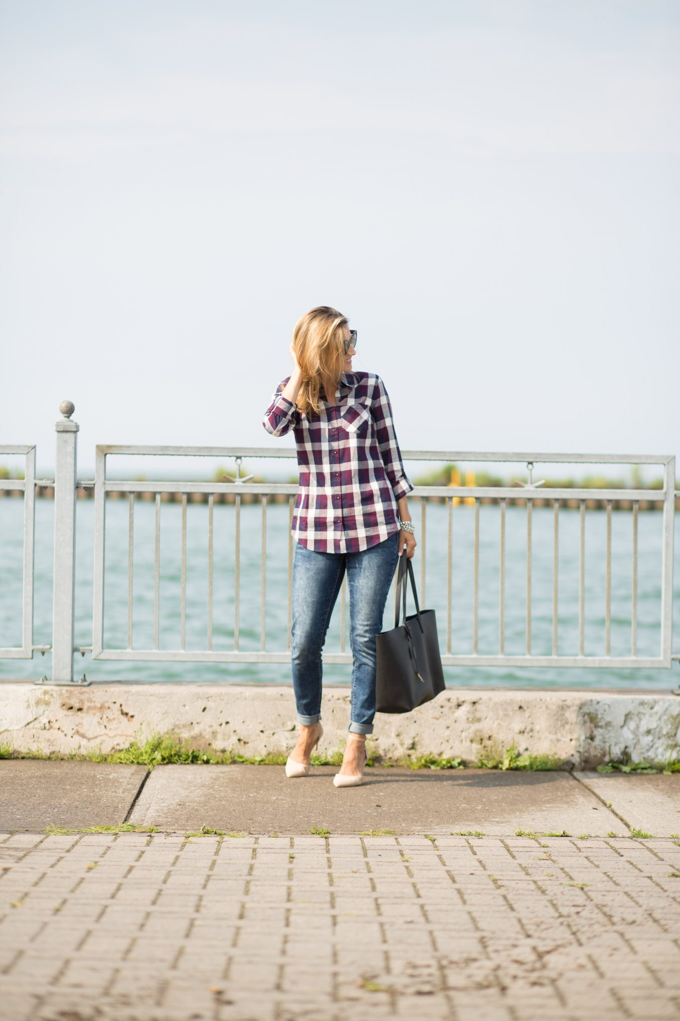 Plaid shirt Reitmans, skinny marble wash denim Reitmans, nude heels, Saint Laurent bag