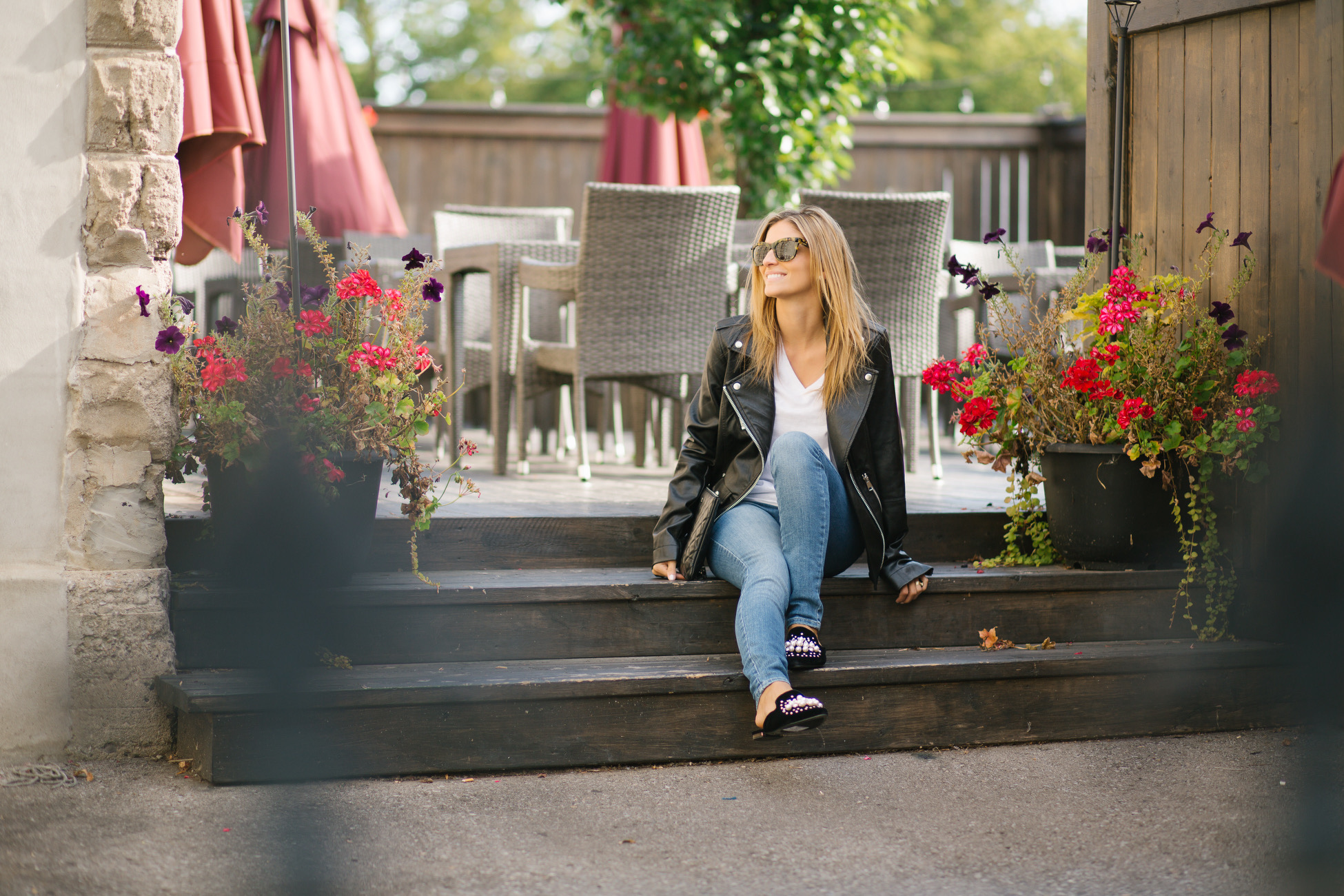 fall look with leather jacket blogger sparkleshinylove