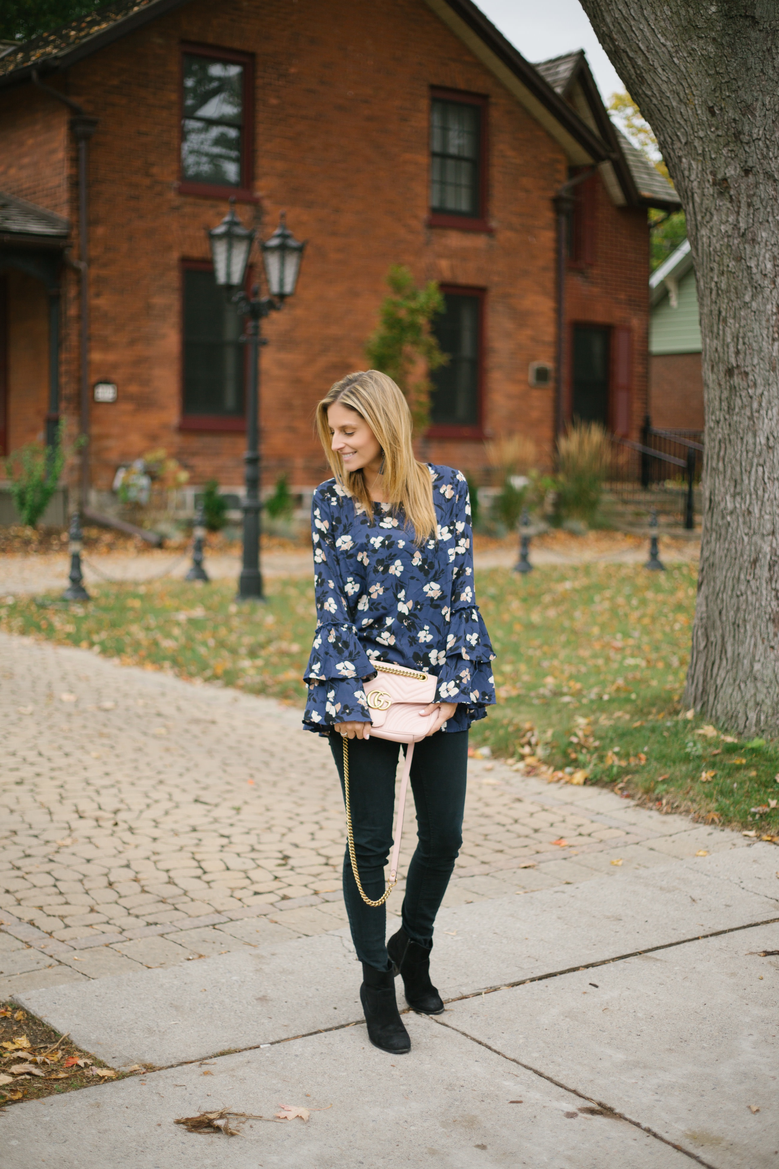 Floral Bell sleeve top for fall