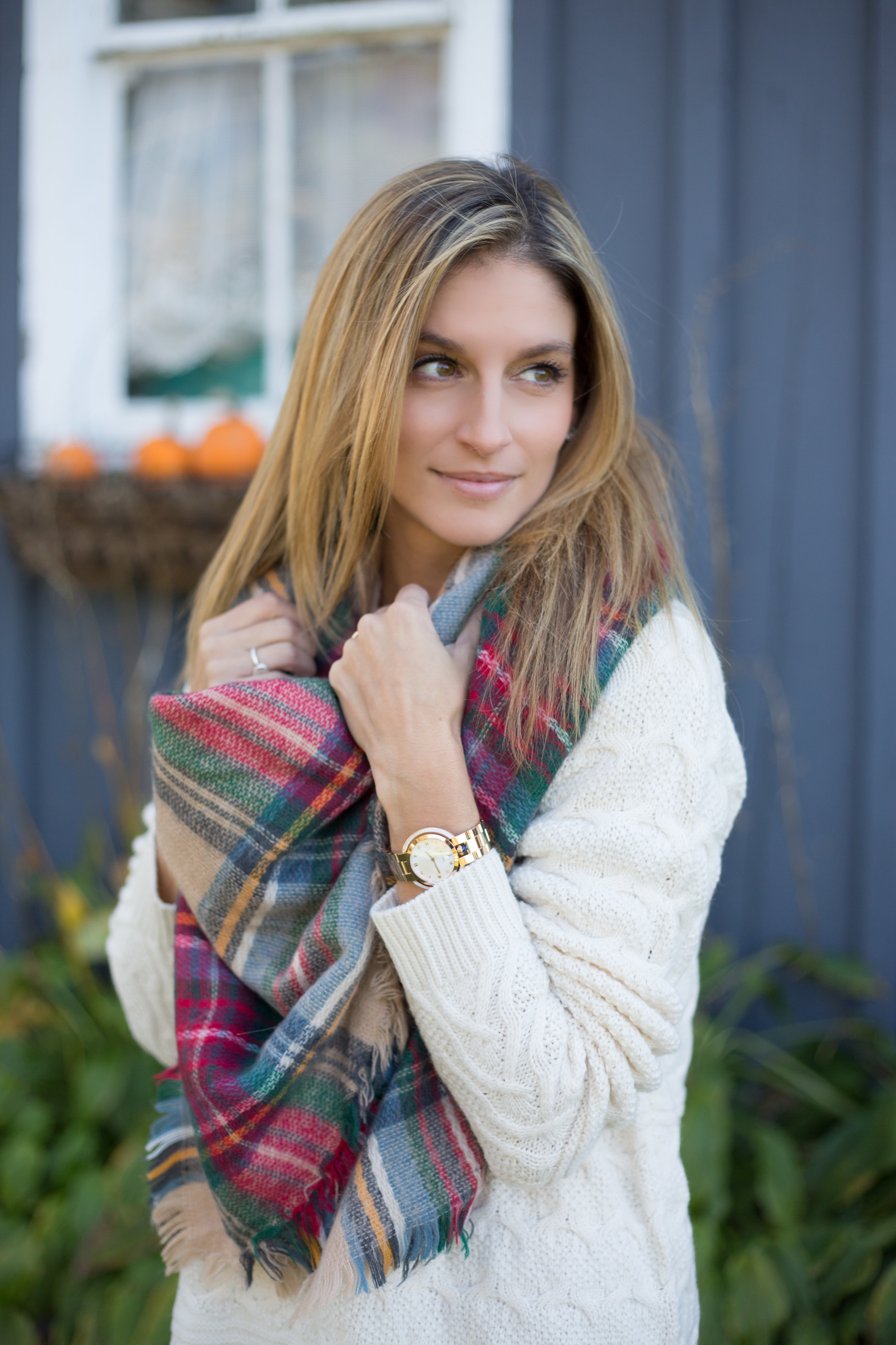 Fall style with a white cable knit sweater dress and plaid blanket scarf Mandy Furnis