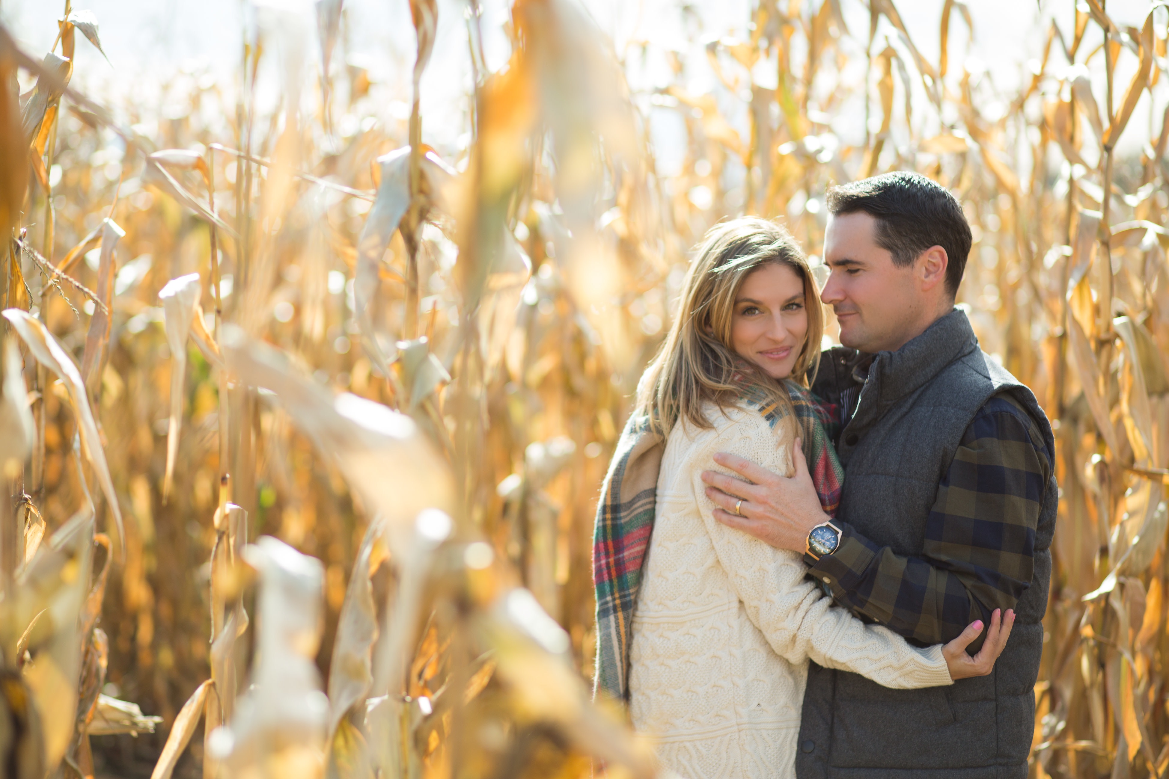 Fall photos in a corn maze