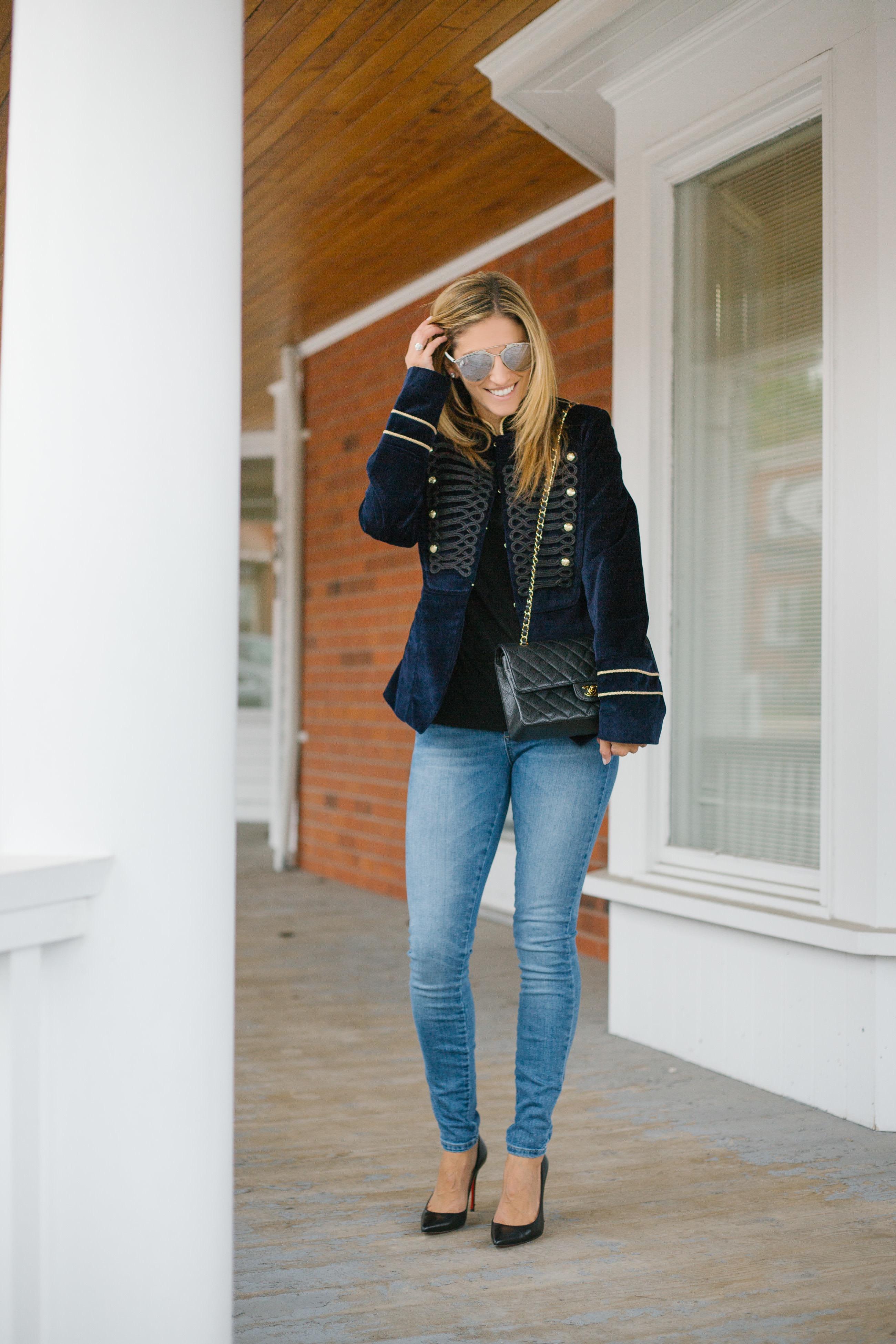 Velvet military style jacket
