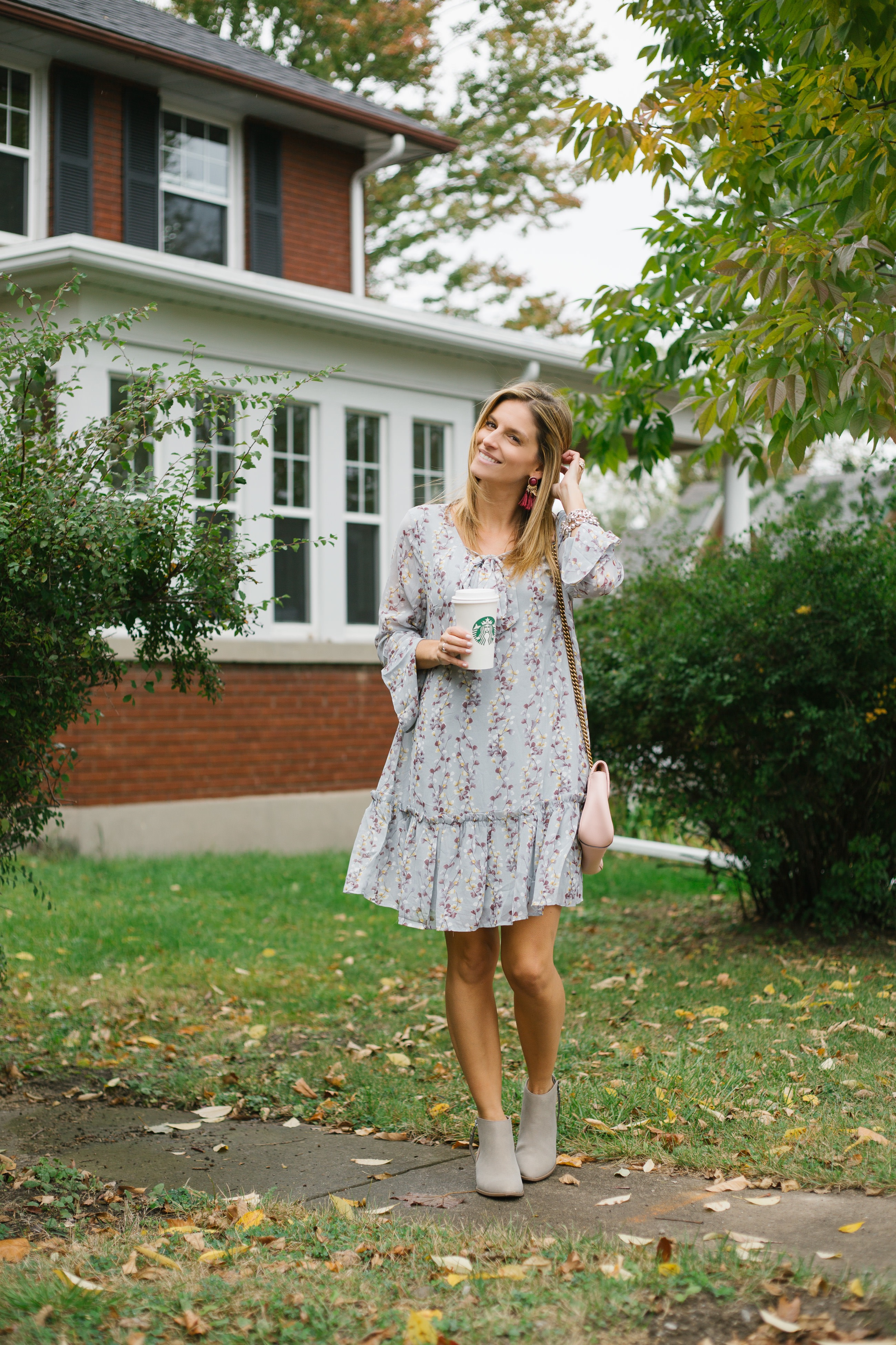 Pretty long sleeved dress for fall with booties