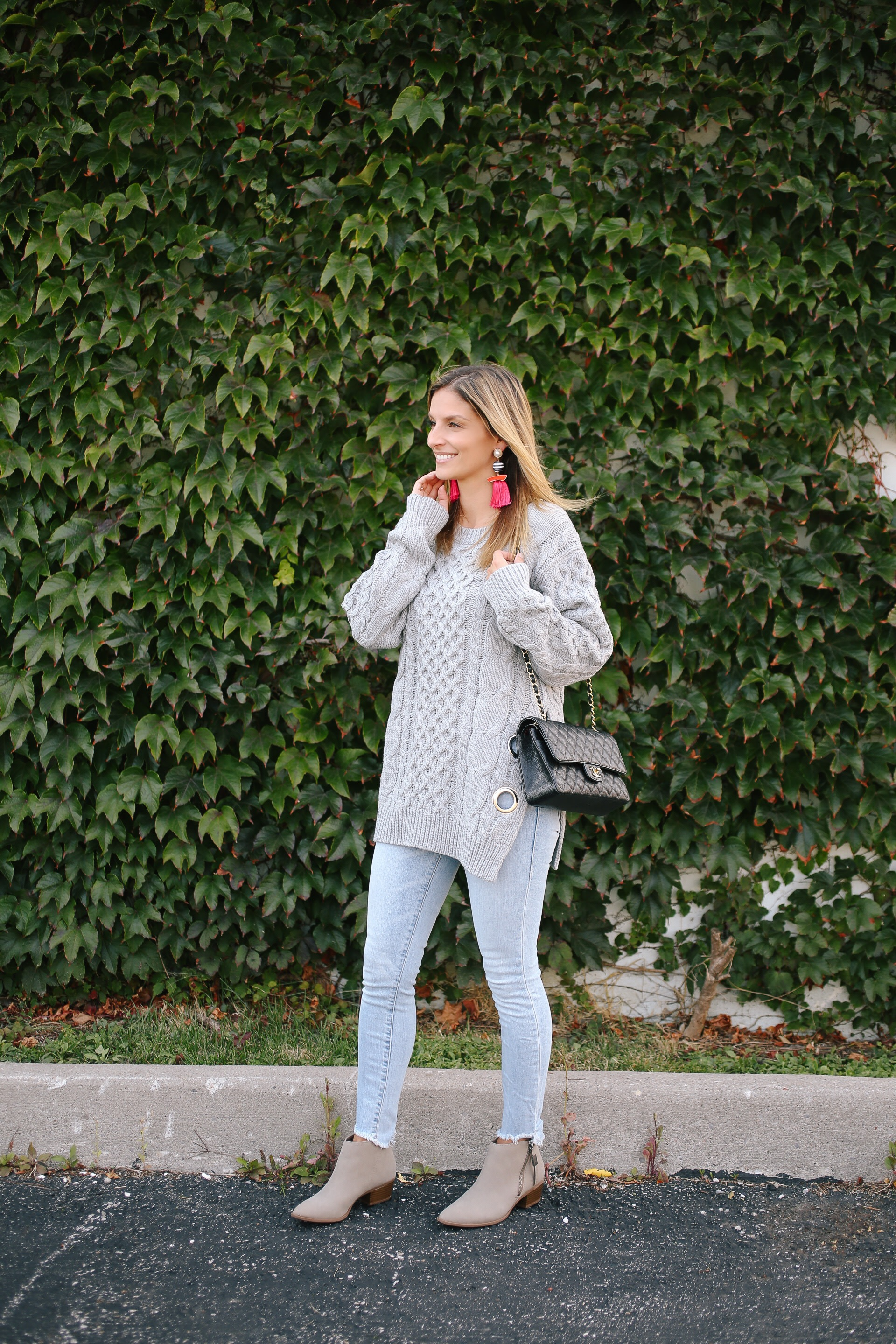 Chic Exploration Cable Knit Sweater in Grey