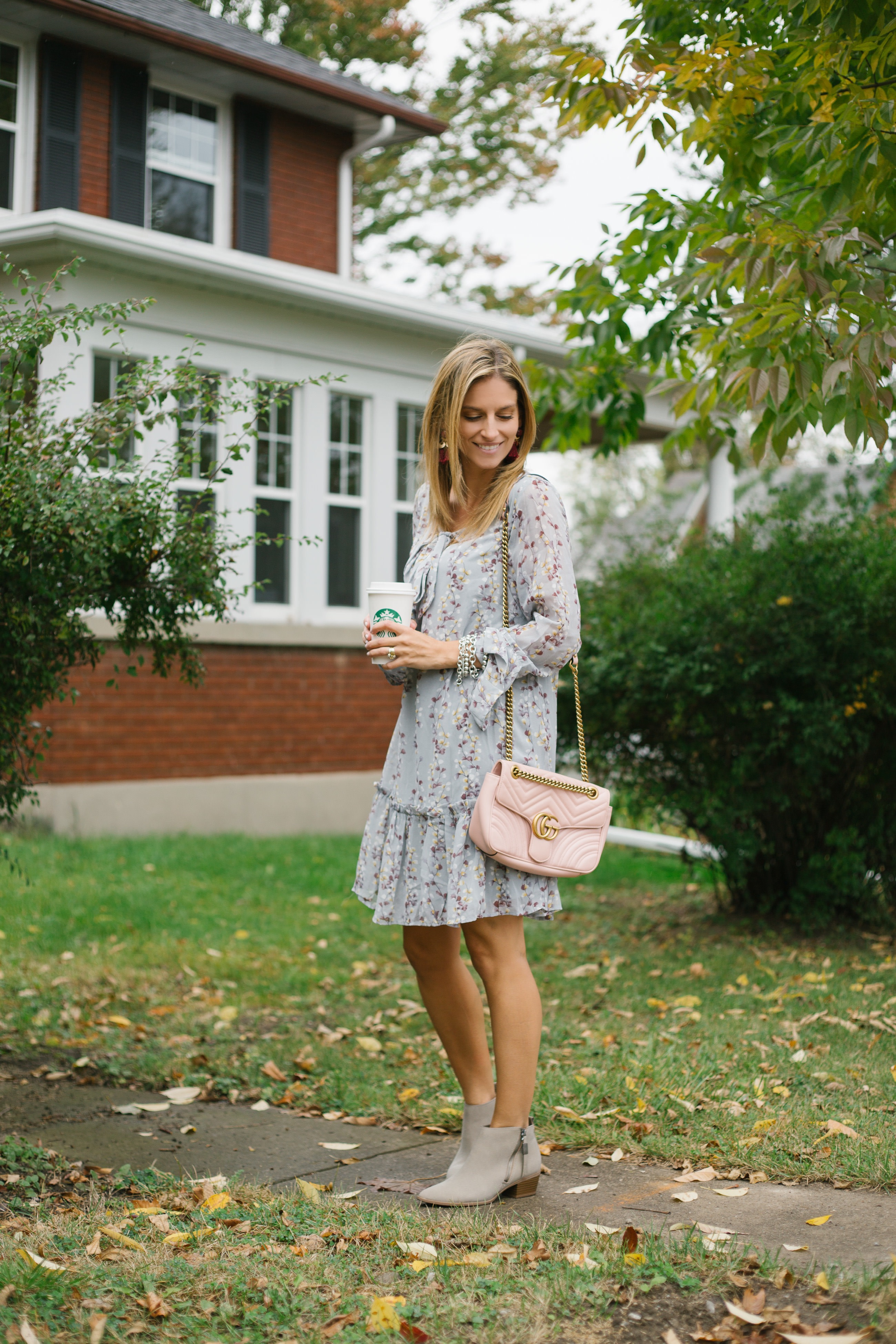 Fall bow neck dress from Pink Blush