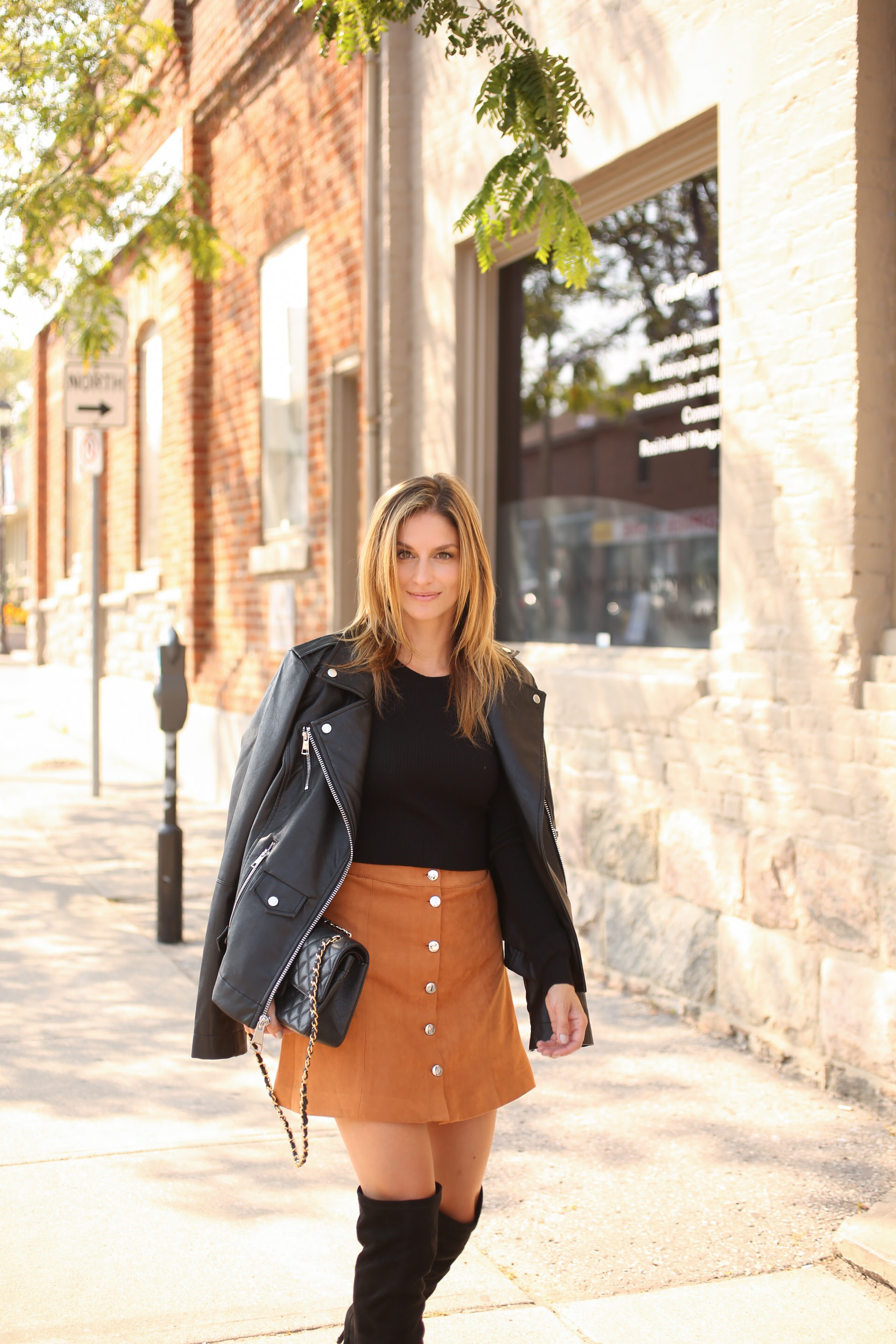 styling a suede button down skirt