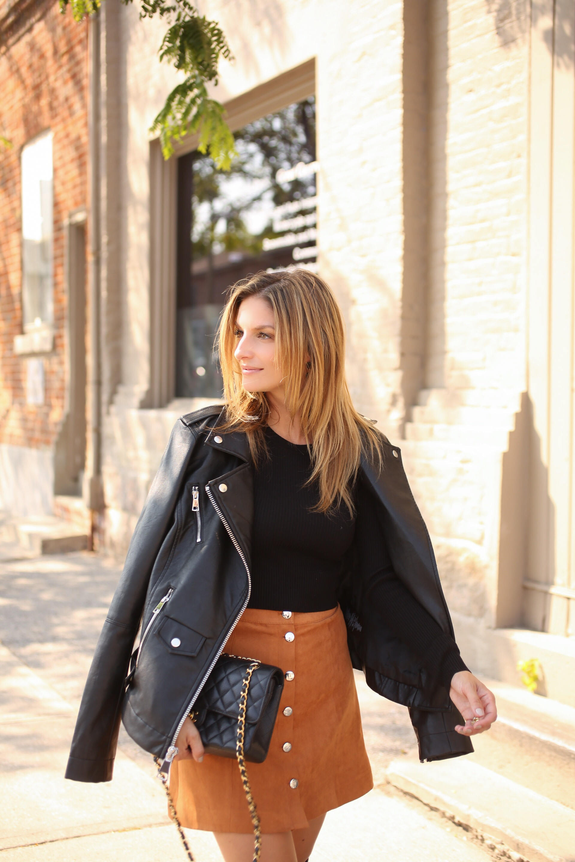 leather jacket and suede skirt